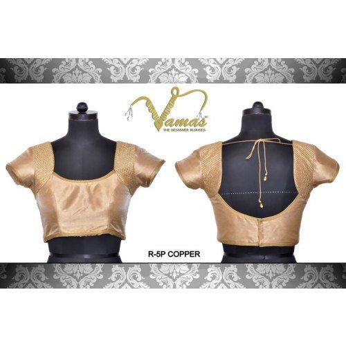 Zari Cross-stitched Armhole Pattern Saree blouse  R-5pc Copper. Muhenera presents vamas designer collection