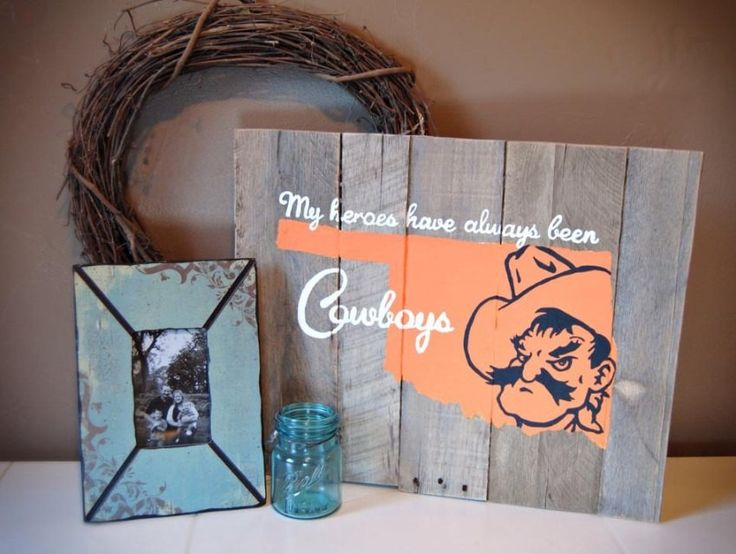 Oklahoma State University Pistol Pete Cowboy Wood Sign by StillyWoodDesigns on Etsy