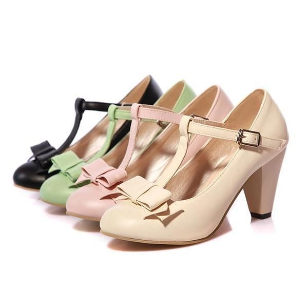 Spring Autumn Women Toe Flat Heel Bow Tie Single Shoes Casual Party Shoes