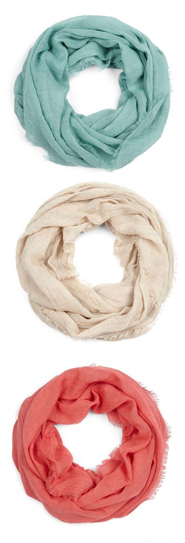 Lightweight Infinity Scarves. I want all the colors! #fashion #scarf #spring