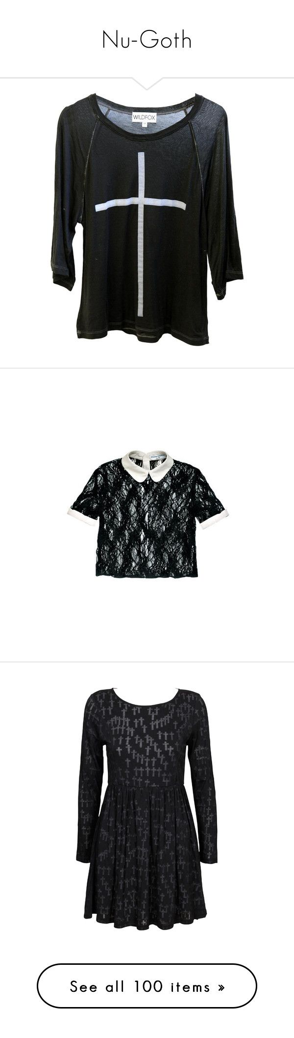 """""""Nu-Goth"""" by punkhale ❤ liked on Polyvore featuring tops, t-shirts, shirts, sweaters, raglan sleeve shirts, cross tee, t shirts, over sized t shirt, raglan shirts and blouses"""
