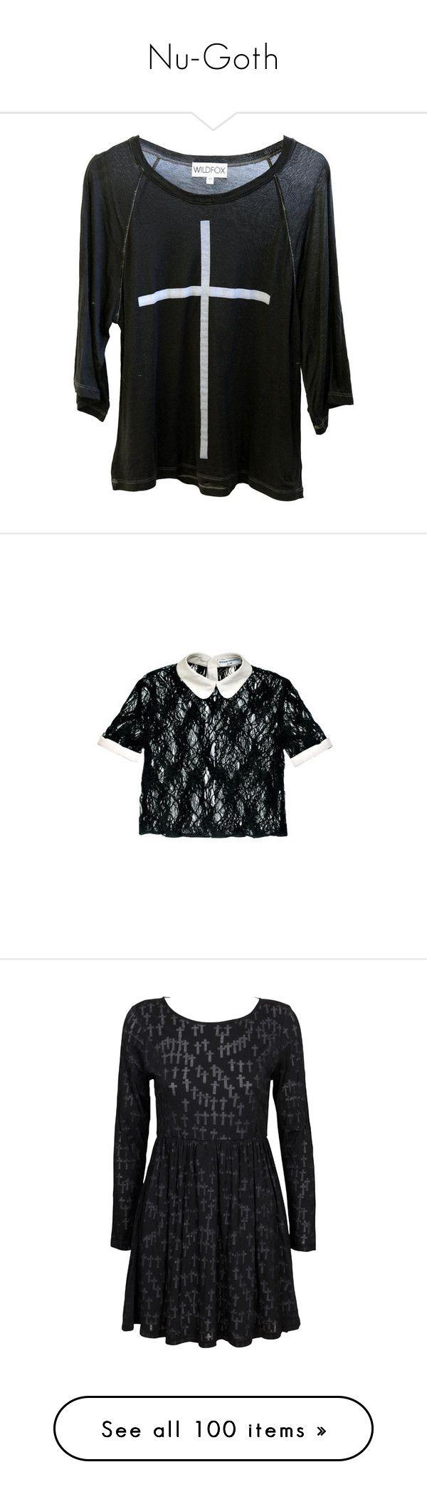 """Nu-Goth"" by punkhale ❤ liked on Polyvore featuring tops, t-shirts, shirts, sweaters, raglan t shirts, cross shirt, raglan sleeve t shirts, over sized shirts, raglan shirts and blouses"