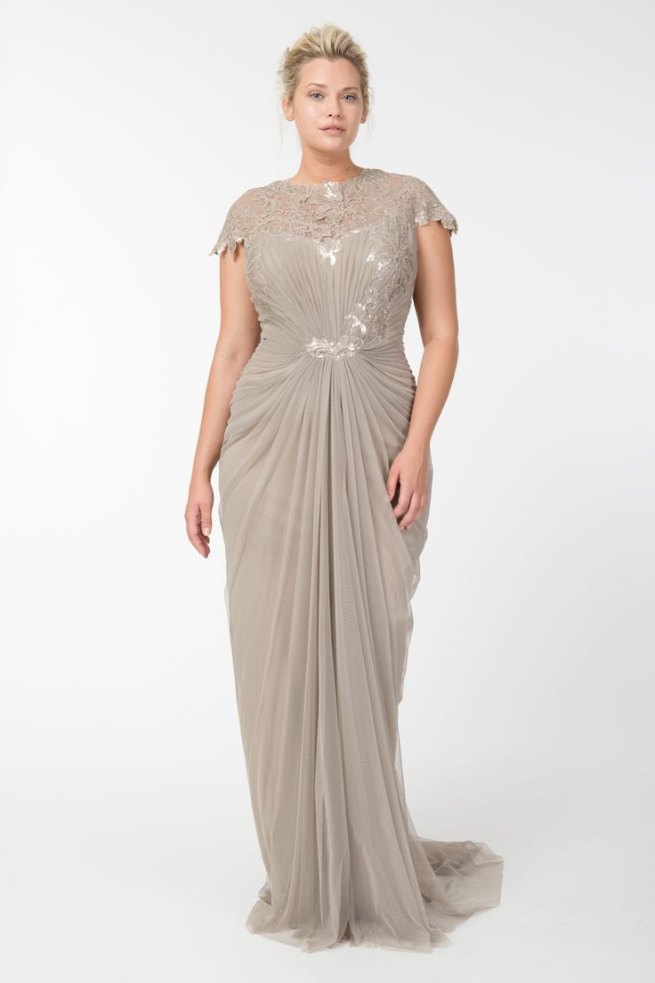221 best plus size images on pinterest marriage mob dresses and tulle draped cap sleeve gown with paillette detail in sand tadashi shoji fall holiday bridesmaid dresses plus sizechampagne ombrellifo Gallery