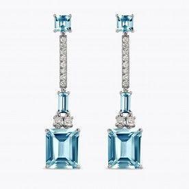 Pendientes de oro blanco con aguamarinas talla esmeralda, baguette y carré con diamantes blancos - Nuestras Joyas - JOYAS