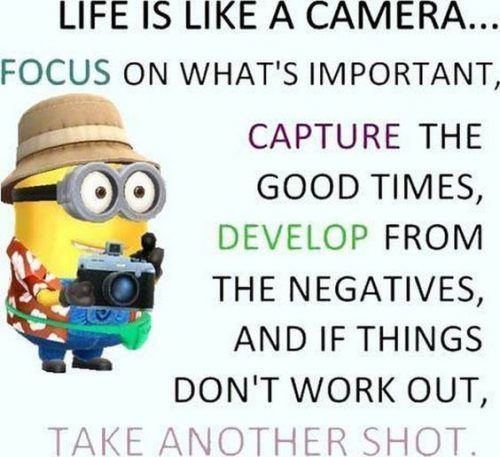 Life Is Like A Camera Life Quotes Quotes Quote Inspirational Quotes Minion Quotes Life Quotes And Sayings Funny Minion Quotes Funny Minion Memes Minions Funny