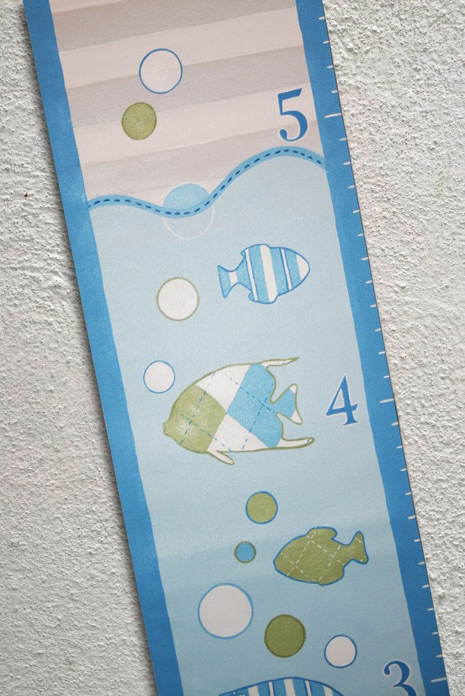 Custom Growth Chart Canvas Painted Fish Contemporary Blue Sea by SweetDreamMurals on Etsy