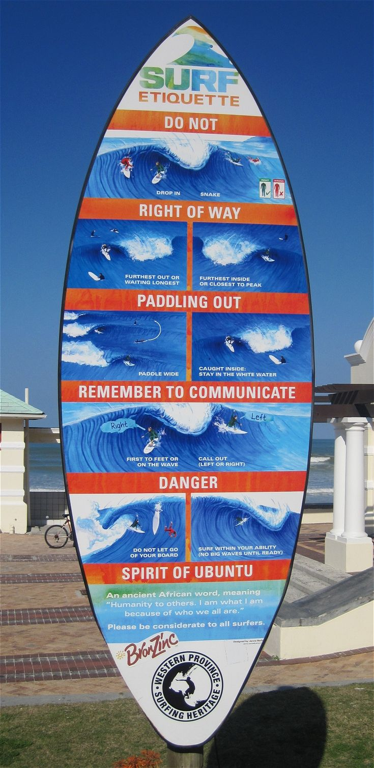 Muizenberg is a popular spot for novice and experienced surfers alike - we love this colourful guide to surf etiquette on the beachfront. - Cape Town, South Africa