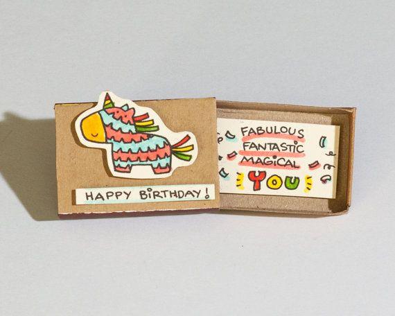 Cute Birthday Card / Piñata Birthday Card/ Matchbox/ by shop3xu