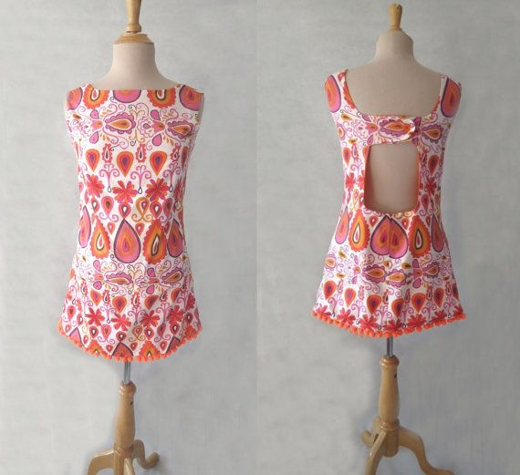 what a gorgeous little sundress, a new handmade item, with retro style fabric and created using a vintage sewing pattern, winner! A short beach coverup or flirty little summer dress for women. New  Orange Beach Dress by LouisaAmeliaJane on Etsy