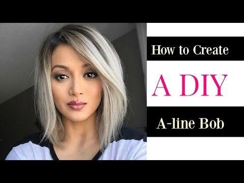 How to Create a DIY A-line Bob cut - YouTube