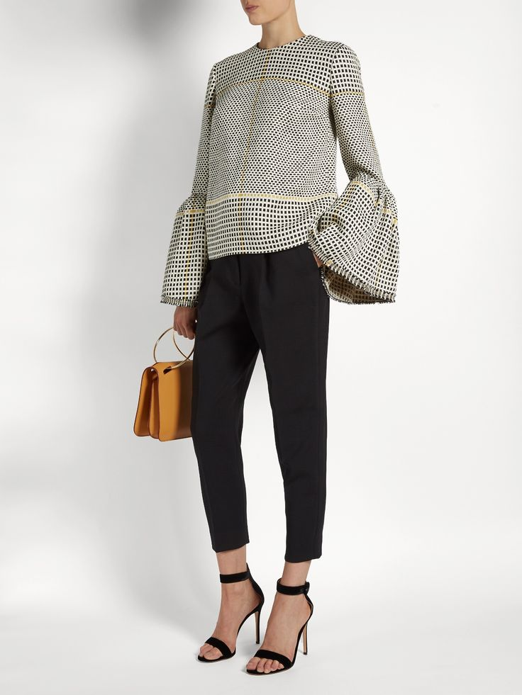 Click here to buy Roksanda Truffaut bell-sleeved basket-weave top at  MATCHESFASHION.