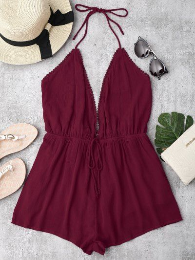 SHARE & Get it FREE | Plunge Halter Beach Cover Up Romper - Burgundy LFor Fashion Lovers only:80,000+ Items • New Arrivals Daily Join Zaful: Get YOUR $50 NOW!