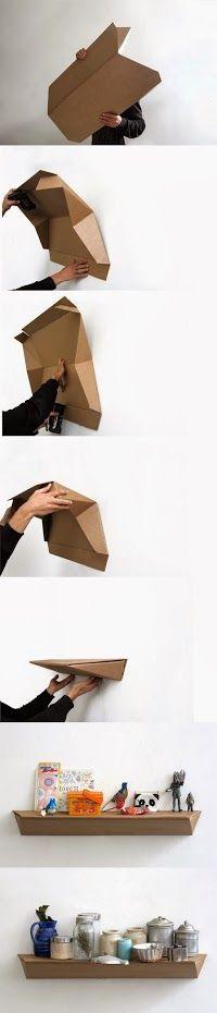 Decora tu hogar con esta estantería de cartón #HazloTúMismo #Manualidades