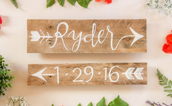 Nursery Baby Name and Date Arrow Sign  Hand Lettered Wall Decor Child Room Rustic Vintage Reclaimed Wood by Breetique