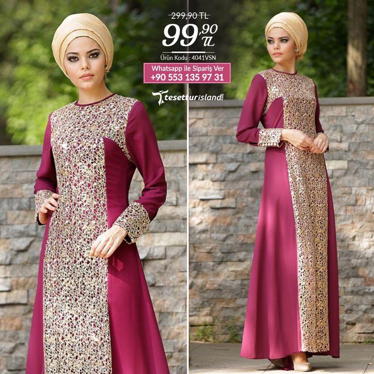 Nayla Collection - Payet Detaylı Vişne Elbise #tesettur #tesetturabiye #tesetturgiyim #tesetturelbise #tesetturabiyeelbise #kapalıgiyim #kapalıabiyemodelleri #şıktesetturabiyeelbise #kışlıkgiyim #tunik #tesetturtunik