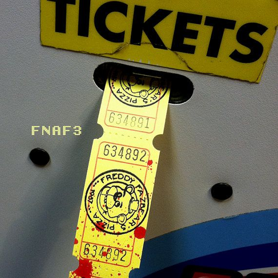 Five Nights At Freddy's Vintage Arcade Tickets by TheBitcoinShop https://www.etsy.com/listing/218987067/five-nights-at-freddys-vintage-arcade