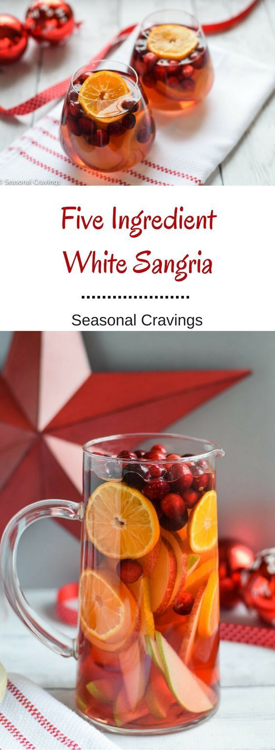 Five Ingredient White Sangria - Having guests for the holidays?  Whip up this super simple fruity Five Ingredient White Sangria and make it a party.  It's fruity, festive and oh so easy.