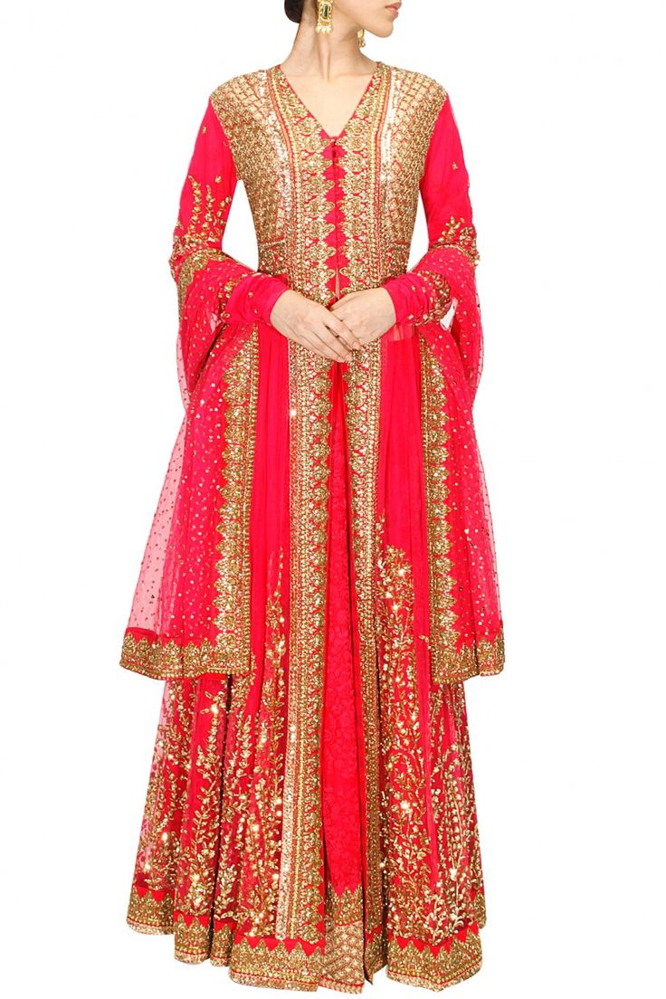 Pink thread and sequins embellished lehenga set available only at Pernia's Pop-Up Shop.