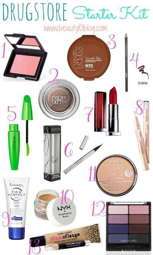 Everything you need to put together a makeup collection from the drugstore. #beauty #makeup
