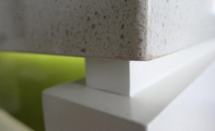 kitchen bench top close up - Caesar stone. Decorator: Jeni Jewell Designs