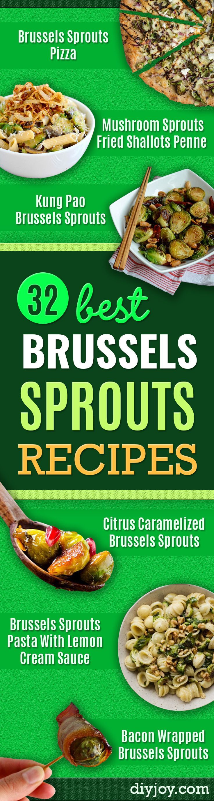 Best Brussel Sprout Recipes - Easy and Quick Delicious Ideas for Making Brussel Sprouts With Bacon, Roasted, Creamy, Healthy, Baked, Sauteed, Crockpot, Grilled, Shredded and Salad Recipe Ideas - Cool Lunches, Dinner, Snack, Side and DIY Dinner Vegetable Dishes http://diyjoy.com/best-brussel-sprout-recipes