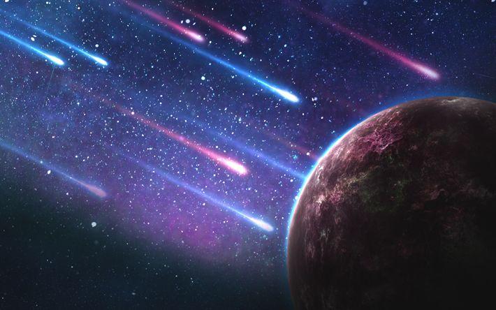 Download wallpapers 4k, meteorites, galaxy, planet, stars, sci-fi, comets