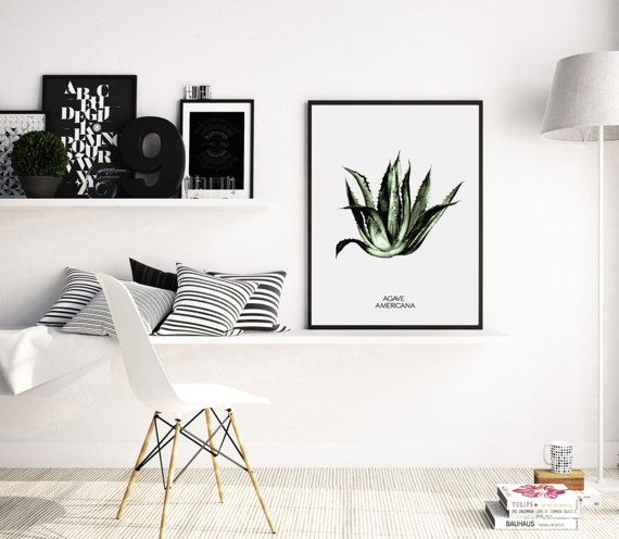 Tropical Print Cactus Wall Art Spring Decor by PrintsMiuusStudio