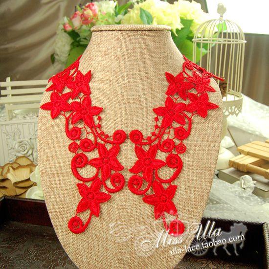 Водорастворимые красный кружева аппликация цветок аксессуары красный водорастворимый кружева аппликация платье аппликация