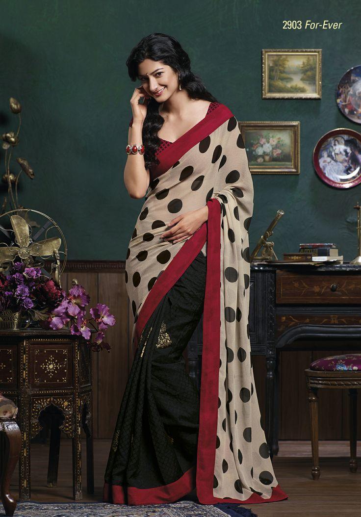 Admirable bhagalpuri & chiffon saree with maroon border patti & unstiched blouse piece