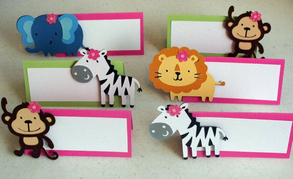 12 Girl Jungle or Safari Animal Place Cards Food Cards Labels, zoo birthday, food cards, food labels, safari party