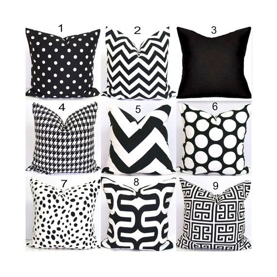 Decorative Pillow.BLACK WHITE Pillow Covers.ALL by ElemenOPillows