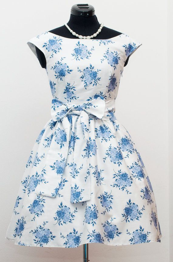 50s bridesmaid dress/ 50s prom dress/ floral bridesmaid dress/ mad men dresses/ pinup tea party dress/ rehearsal dinner dress MADE TO ORDER on Etsy, $118.00
