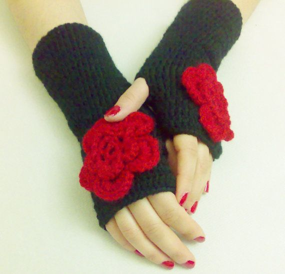 Gloves Fingerless gloves with red flower hand by BloomedFlower, $20.00