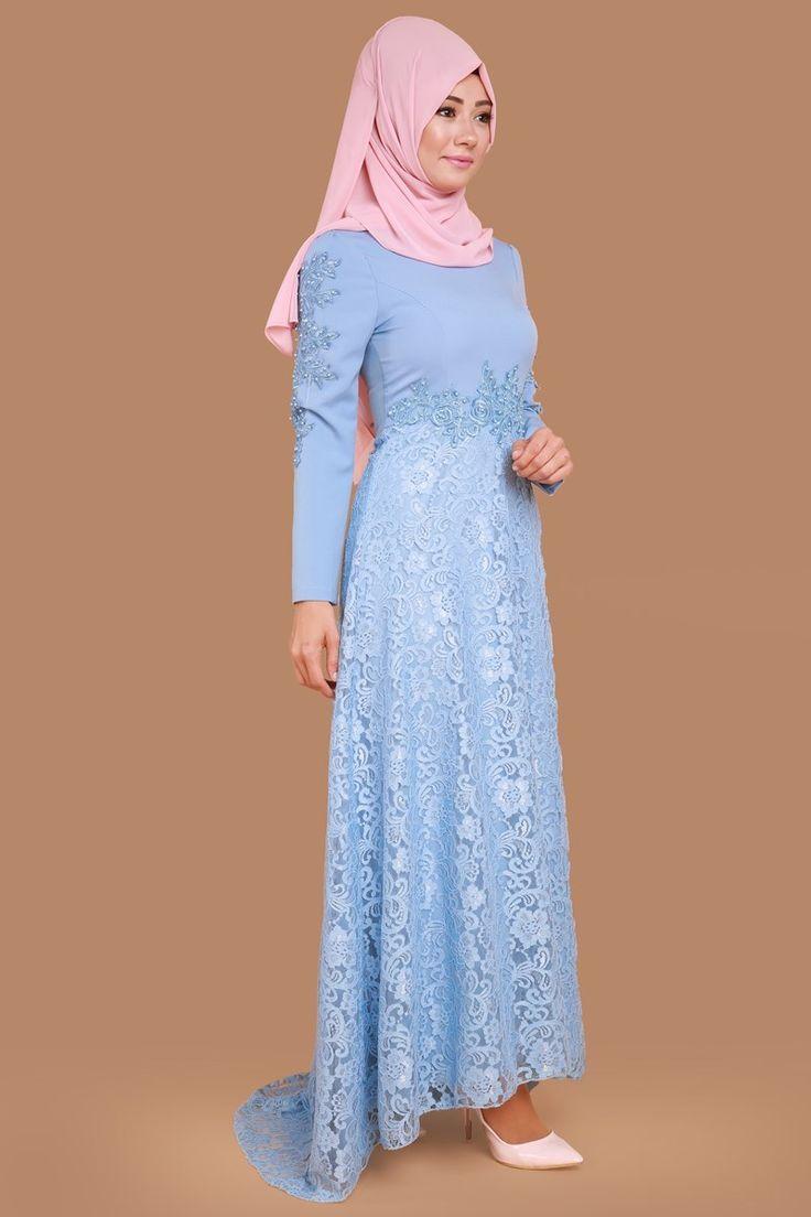 Kolları Boncuk İşli Dantel Detay Elbise YGS5070 Bebe Mavi