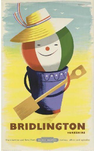 Tom Eckersley - Bridlington (England, U.K.) - Vintage travel beach poster . #essenzadiriviera www.varaldocosmetica.it/en : olive oil cosmetics to a natural skincare!