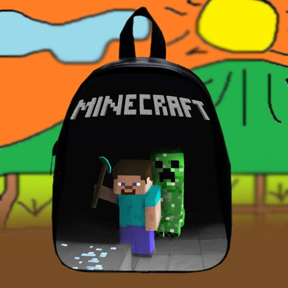 #Minecraft #Crepper #Game  Custom SchoolBags Backpack by KopiHitam55