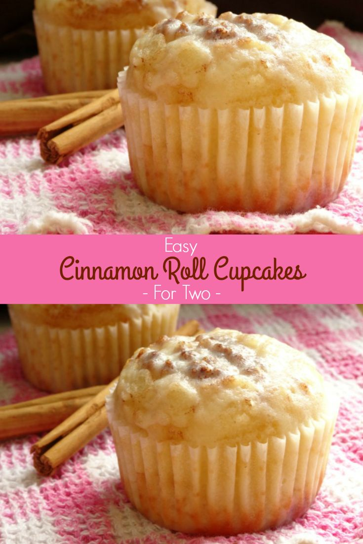 Easy Cinnamon Roll Cupcakes for Two Recipe - a one-bowl cupcake recipe that makes just two cupcakes, laced with cinnamon sugar and cream cheese frosting. They're a bit too sweet for breakfast, but they make an awesome dessert or snack! | www.pinkrecipebox.com