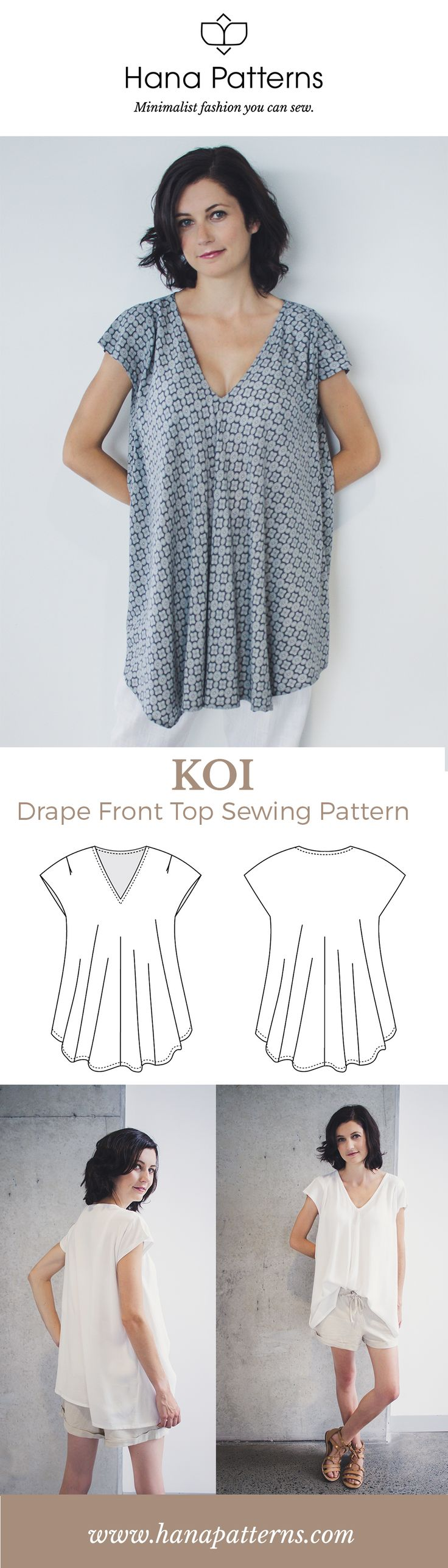 Modern Sewing Patterns for Women   The KOI drape front top is a versatile piece for your capsule wardrobe. Make it in beautiful drapey fabrics like crepe de chine and rayon. Find out more at www.hanapatterns.com