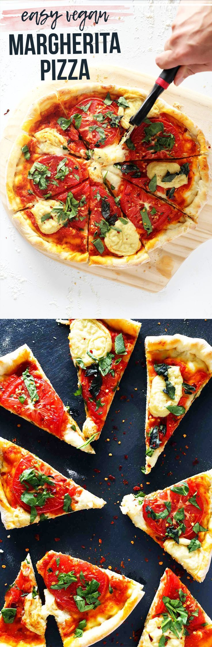 Delicious vegan pizza - margherita style. Made with homemade cashew mozzarella, marinara sauce, and vegan dough. Topped with fresh tomatoes and fresh basil.