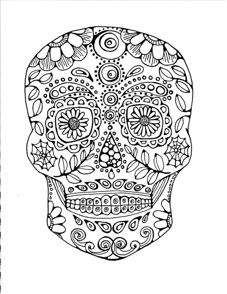 Adult Coloring PageOriginal Hand Drawn Art In Black And White Day Of The Dead Image Sugar Skull
