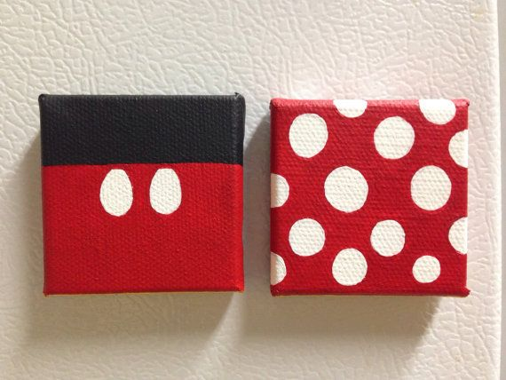 Mickey And Minnie Mouse Tiny Canvas Refrigerator By