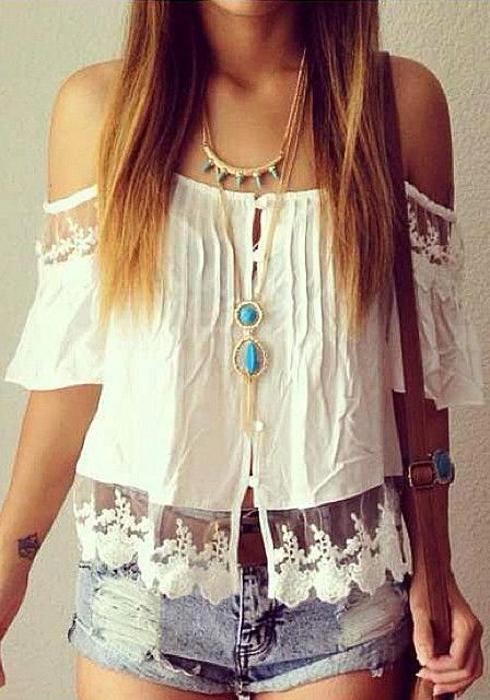 Boho Lace Sleeve Top - Creamy White Lace Sleeves Top