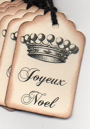 Christmas Gift Tag Joyeux Noel French Crown Shabby by luvs2create2, $5.00
