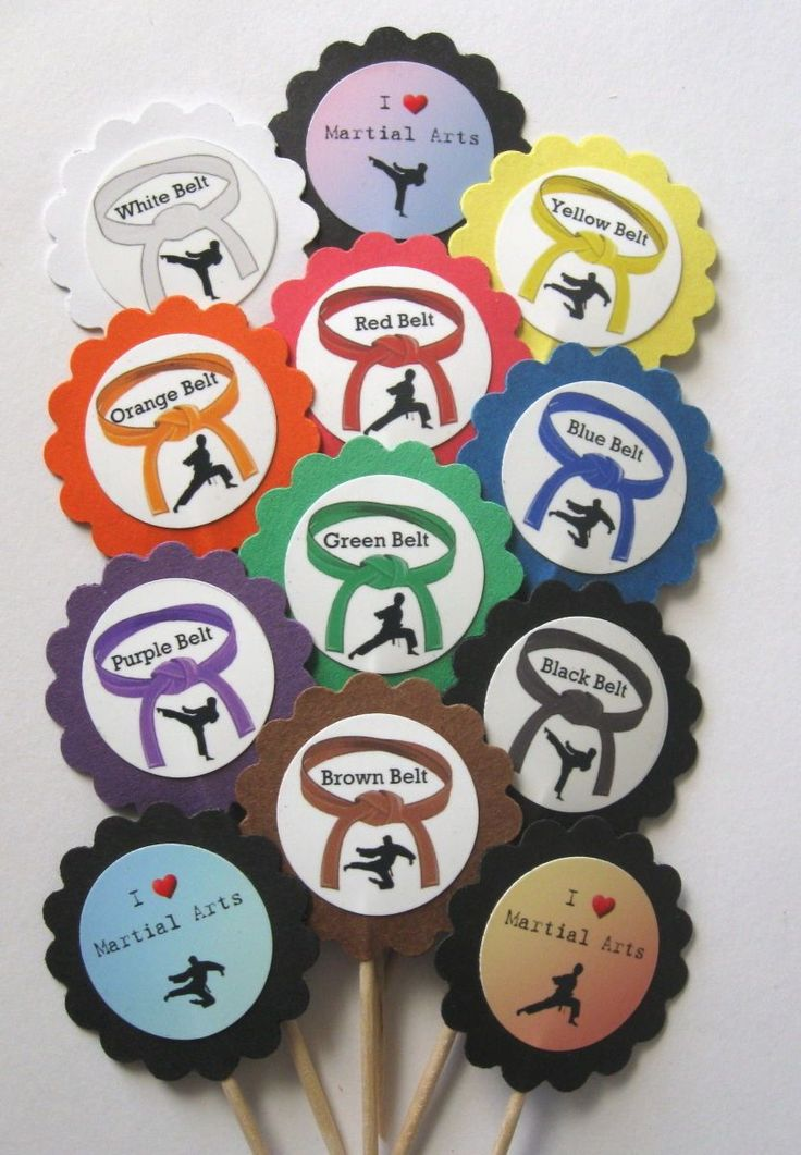 Karate Cupcake Toppers/Party Picks Item #1354 Martial Arts/Male/Boy