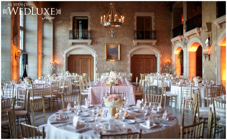 Blush table linens and gold chiavari chairs at Mount Stephen Hall Banff Springs Hotel Wedding