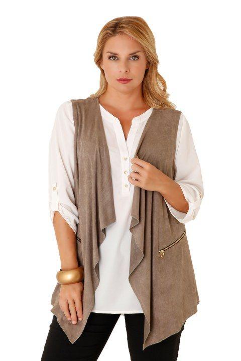 Καζάκα σουέτ με διακοσμητικά φερμουάρ - Ζακέτες - Ρούχα | XLcloset