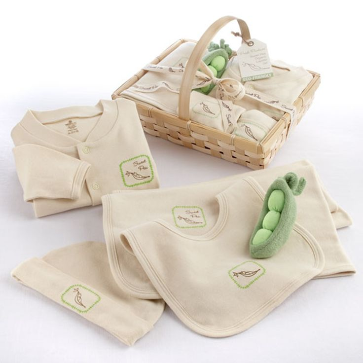 This five piece fresh produce set gives a whole new meaning to sweet peas. The inventive gift set includes a cozy blanket, precious pajamas, cap and bib, and a pea pod rattle. Made of organic cotton. - See more at: http://www.babyblankets.com/baby-essentials/five-piece-organic-layette-set.html#sthash.tWTrsT2l.dpuf
