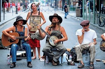 Louisiana, New Orleans, French Quarter musicians playing cajun music Cajun instrument