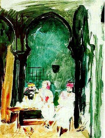 Peinture d'Algérie : Peinture Français, Jean Launois(1898 - 1942), Gouache & encre , Titre: Trois jeunes filles dans la Casbah d'Alger.