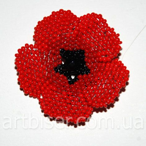 Red Poppy. Mostly because we need some color after all of the gray pins!  This needs translation and has many, many pictures.  a non-trivial project. #seed #bead #tutorial.